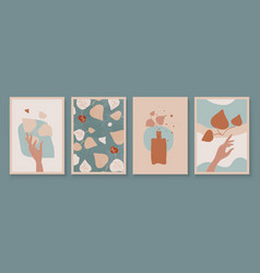 teal and peach abstract botanical art with woman vector image