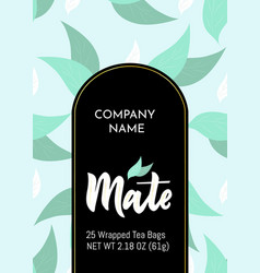 Template packaging mate tea company name vector