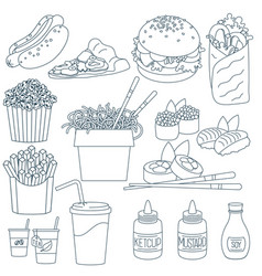 thin line fastfood vector image