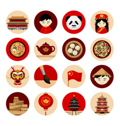 Travel to china collection of icons with cultural vector