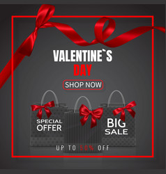 valentines day sale realistic paper shopping bag vector image
