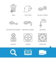 Ventilation radiator and water counter icons vector