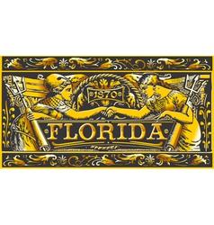 Vintage florida label plaque black and gold vector