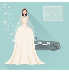 Wedding invitation Bride in lace wedding dress vector