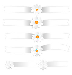 white ribbon with paper flowers vector image