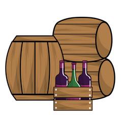wine bottles and barrels design vector image