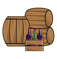 Wine bottles and barrels design vector