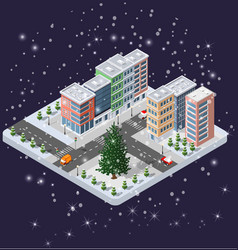 Winter christmas urban quarter modules vector