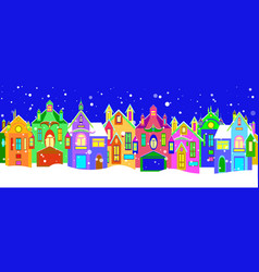 winter houses with christmas decoration vector image