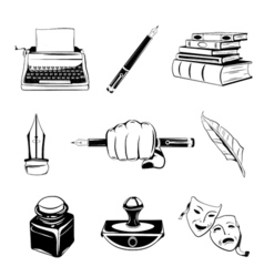 Writer design elements isolated objects vintage vector