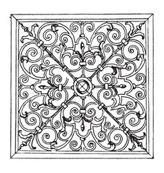 wrought-iron square panel was designed in 1713 in vector image