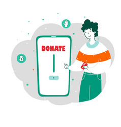 young man donating money online flat vector image