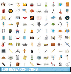 100 research icons set cartoon style vector