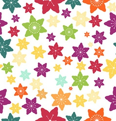 Abstract Colorful Flowers Seamless Pattern vector image