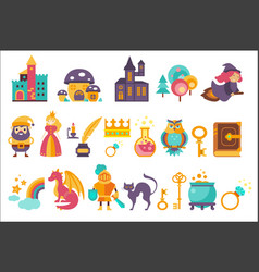 fairytale set princess princess castle gnome vector image