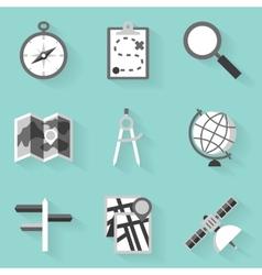Flat icon set Navigation White style vector image