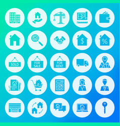 real estate circle solid icons vector image