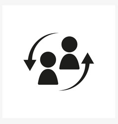 staff turnover icon in simple black design vector image vector image