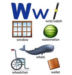 Things that start with the letter W vector image