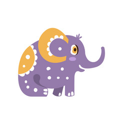 cute cartoon elephant character sitting side view vector image vector image
