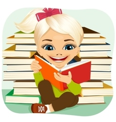 little blonde girl reading an interesting book vector image vector image