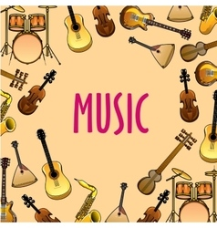Music background with classic ethnic instruments vector image vector image