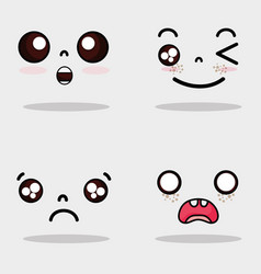 set kawaii cute faces expression vector image vector image