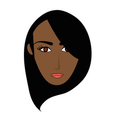 color image cartoon front face brunette woman with vector image vector image