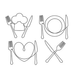 cultery and plate vector image vector image