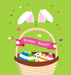 happy easter card of bunny and holiday eggs vector image vector image
