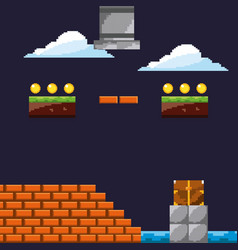 pixel game level with cloud coins brick wall vector image