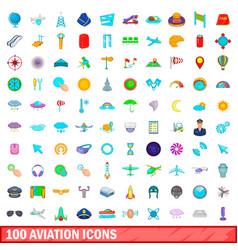 100 aviation icons set cartoon style vector