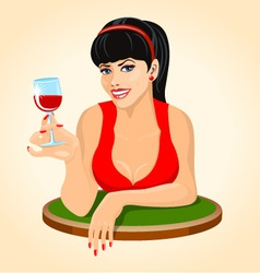 Beautiful brunette woman in red dress with a glass vector image