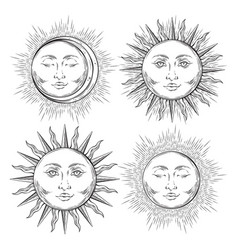 boho flash tattoo design hand drawn sun set vector image vector image