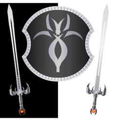 fantasy shield and swordssecond variant vector image vector image
