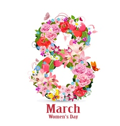 Greeting card with March vector image