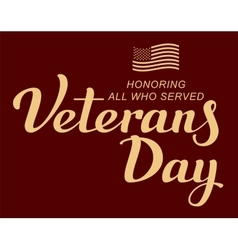 November 11 veterans day lettering text and us vector