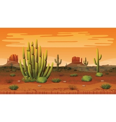Seamless background of landscape with desert and vector image