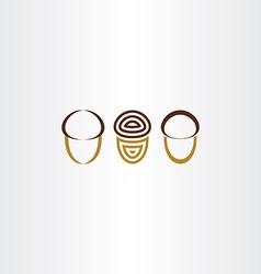 stylized acorn icon set vector image