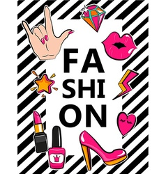 Template for fashion with stylish patch badges vector