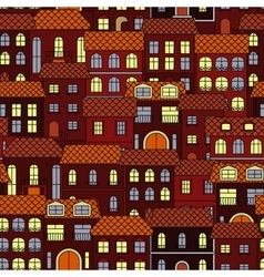 Vintage seamless cityscape background pattern vector image vector image