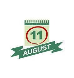 11 august calendar with ribbon vector