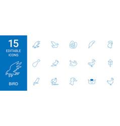 15 bird icons vector