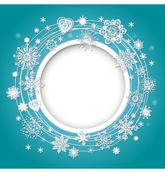 Abstract design with snowflakes for text vector image