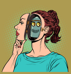 An android woman pretends to be a human vector