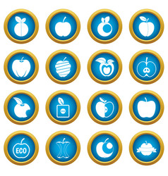 apple icons blue circle set vector image