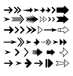 arrows collection black color arrow icon vector image