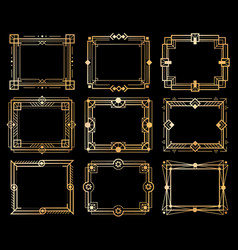art deco frames gold deco image frame borders vector image