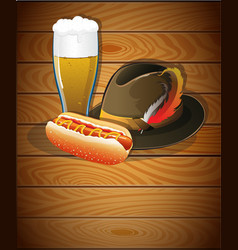 Beer glass hot dog and oktoberfest hat vector