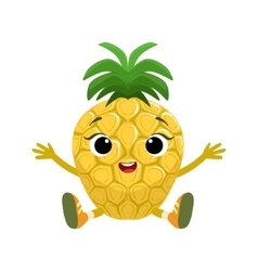 Big Eyed Cute Girly Pineapple Character Sitting vector